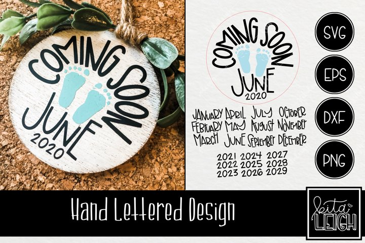 Hand Lettered Coming Soon Round SVG