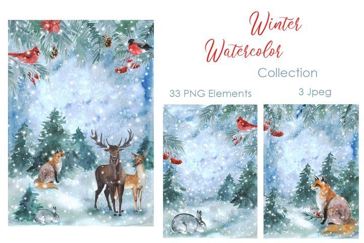 Winter Clipart. Watercolor Cute winter collection