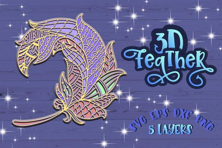 3D Feather Mandala Layered svg Papercut design Zentangle svg