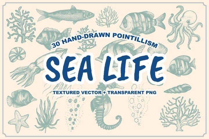 Sea Life Hand Drawn Stippling Art
