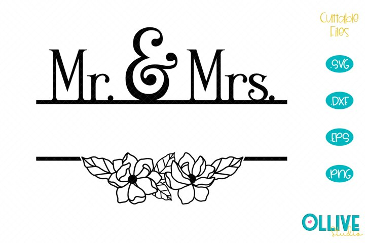 Wedding Mr & Mrs Split Monogram SVG