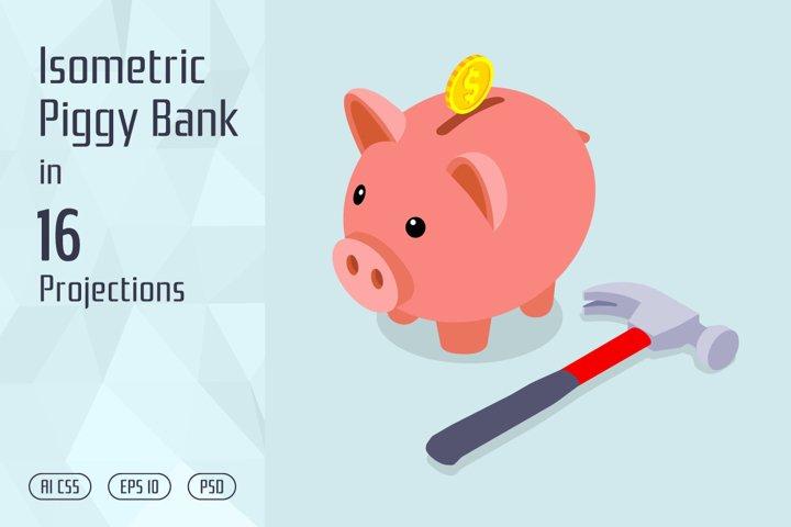 Isometric Piggy Bank