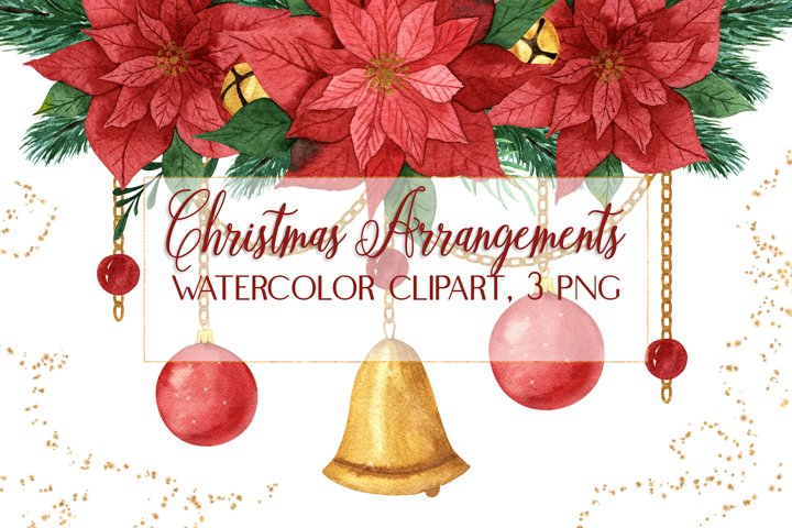 Christmas Watercolor Festive Poinsettia Arrangement Clipart