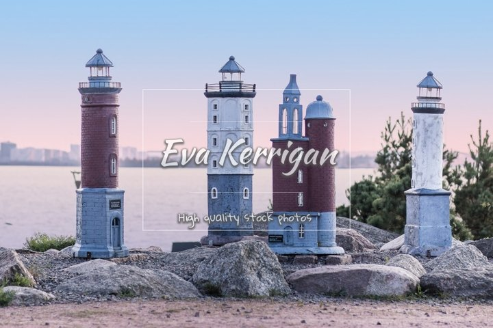 Miniatures of Finnish lighthouses in marine park Catherine.