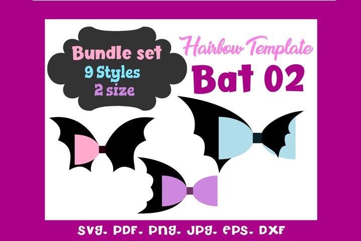 Bat 02 - Nine 9 Style & 2 Sizes Hair Bow Template Bundle