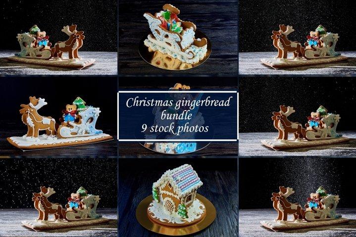 Christmas gingerbread bundle 9 stock photos.