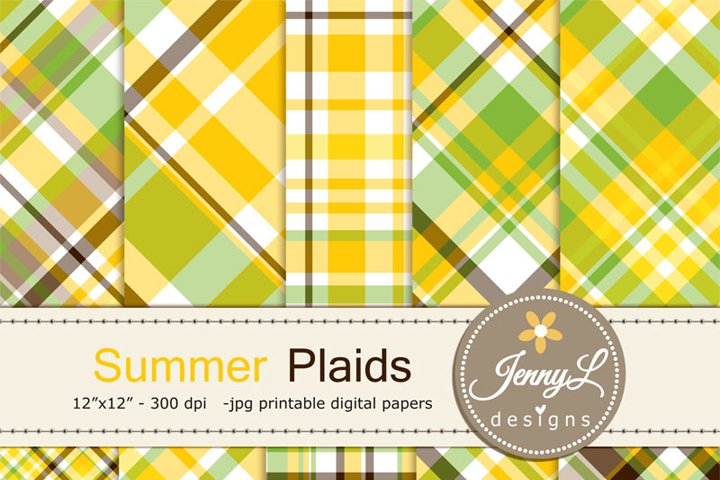 Summer Plaid Digital Papers