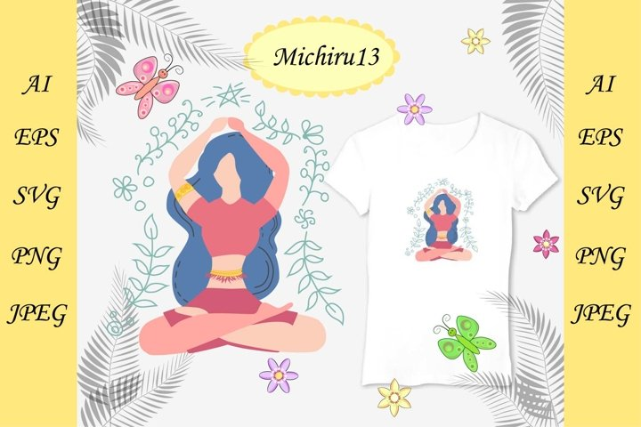 Woman is sitting in lotus position decorated with leaves