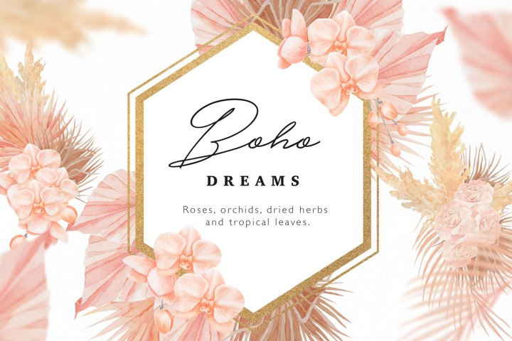 Boho Dreams Golden Frames Watercolor Flowers Collection
