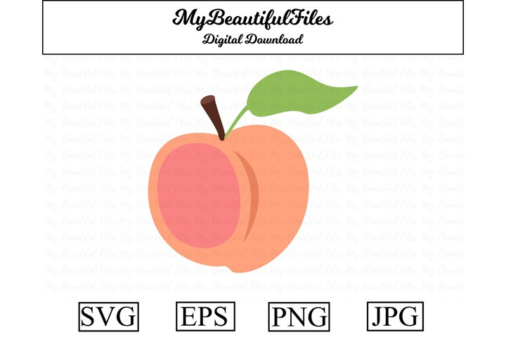 Peach SVG - Cartoon Peach SVG, EPS, PNG and JPG