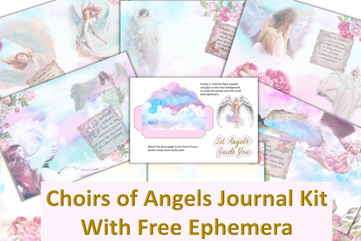 Angels Journal Kit with free Ephemera. Backgrounds & clipart