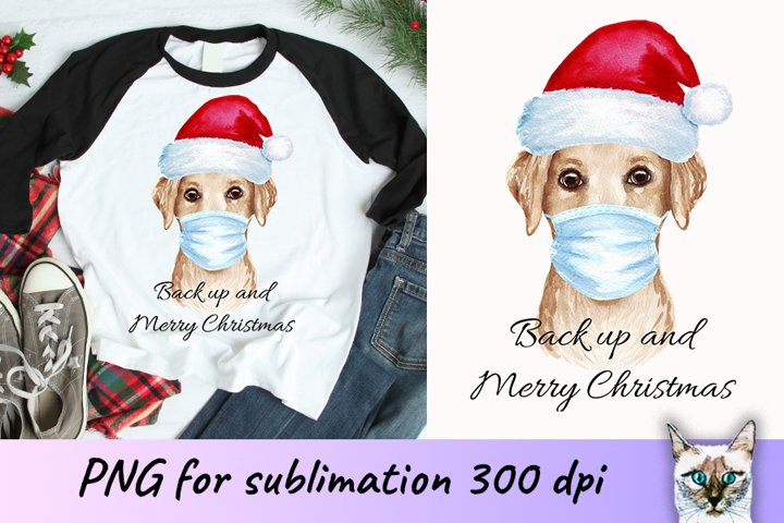 Christmas labrador dog in face mask sublimation design