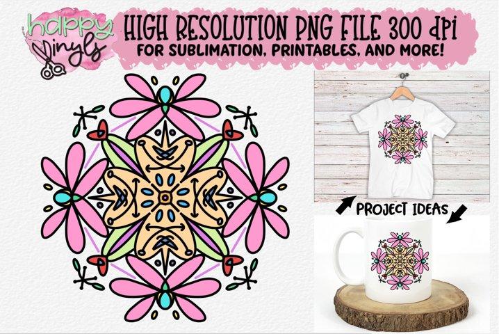 Mandala Pink Sublimation Design - A High Resolution PNG File