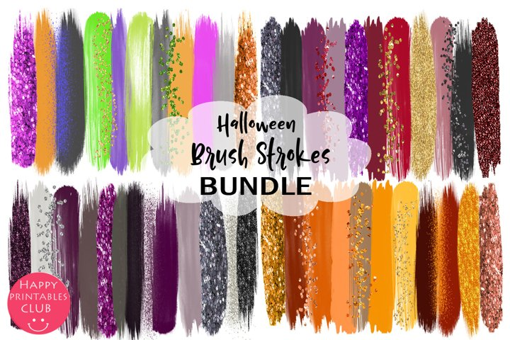 Halloween Brush Strokes Clipart Bundle-Halloween