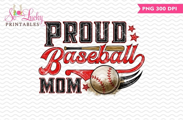 Proud Baseball Mom printable sublimation design