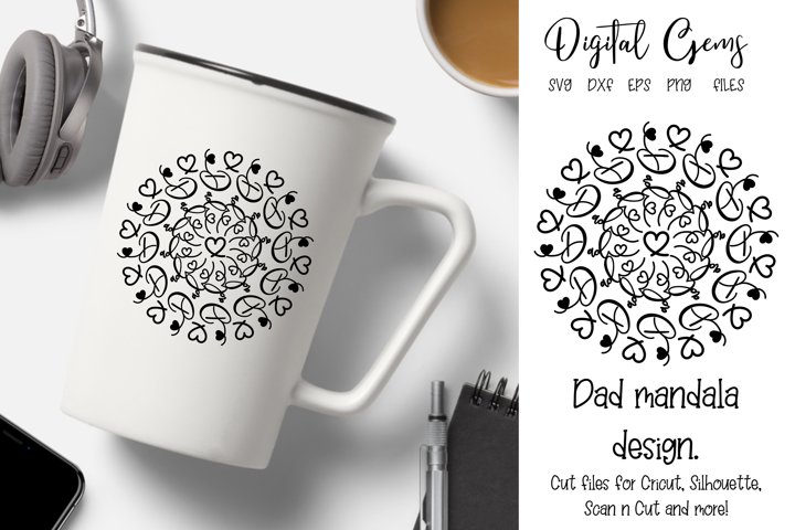 Dad mandala design SVG / PNG / DXF / PNG files