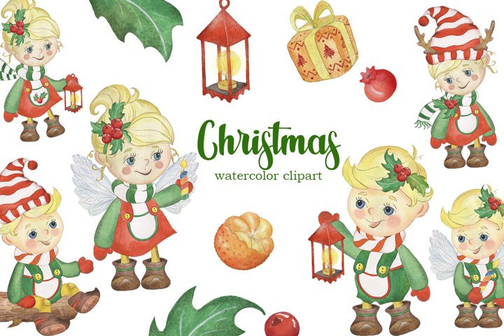 Christmas watercolor clipart. Children and New Year.