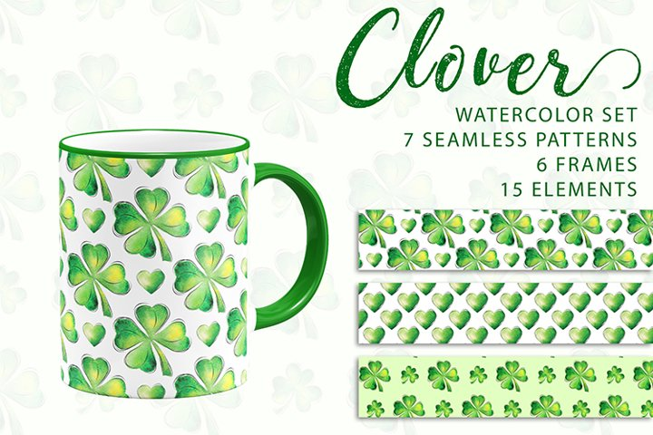 Clover. Watercolor set. PNG, JPG