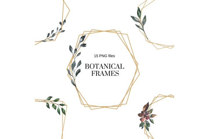 Elegant Minimal Geometric Frames, Botanical Watercolor Frame