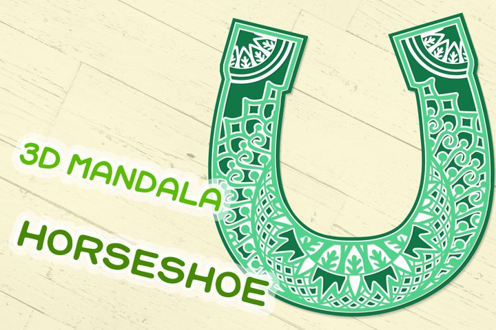 3D Mandala Horseshoe SVG cut file