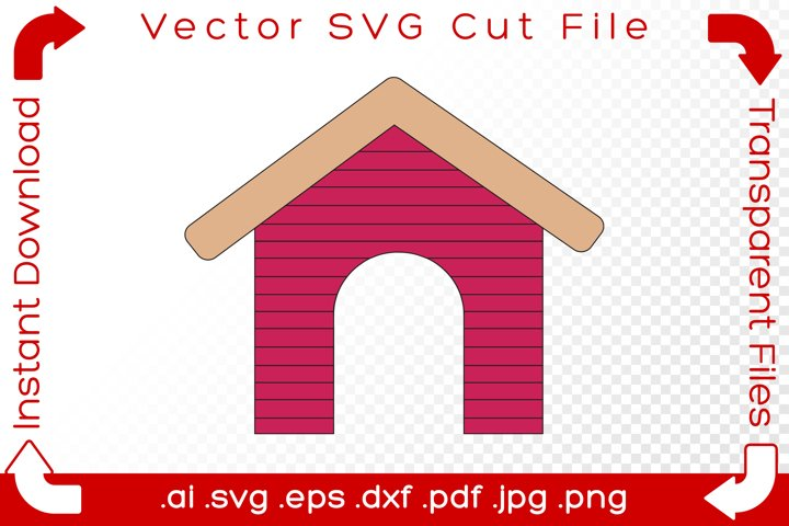 Dog House SVG Cartoon Cut File Drawing for Crafters & Makers