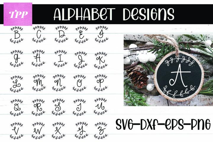Alphabet Monogram SVG Bundle, Wood Slice svgs, holiday cut