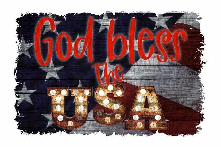 God Bless The USA Sublimation Design