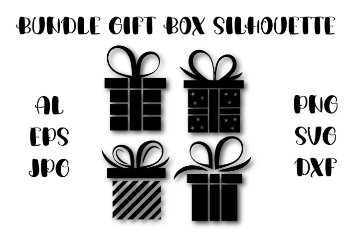 Gift silhouette SVG, bundle gift box silhouette, present