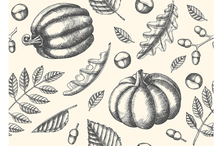Seamless pattern with Hand drawn leaves and pumpkins.