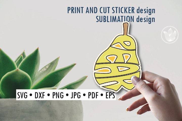 Pear Print and cut sticker, Sublimation design