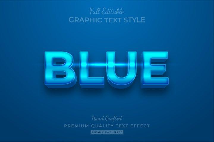 Blue Shine Editable 3D Text Style Effect Premium