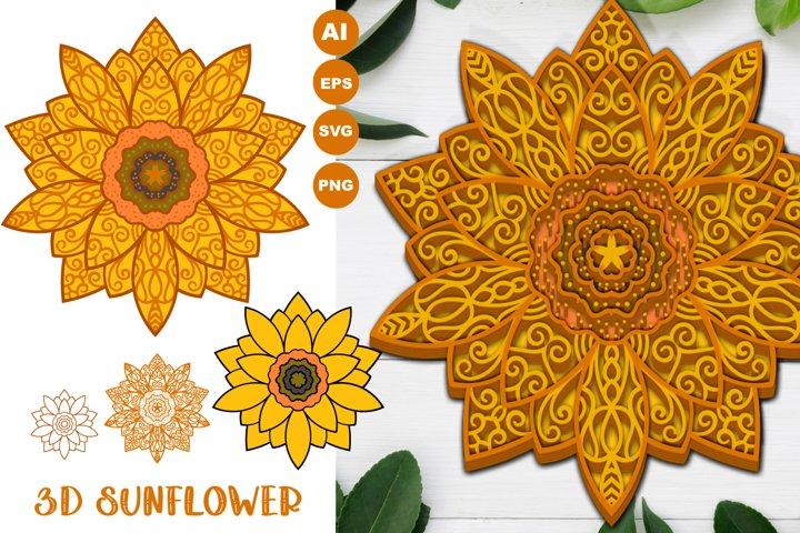 3D Sunflower Mandala Papercut SVG, AI, EPS