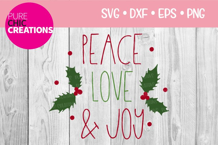 Christmas SVG|Peace Love & Joy|SVG DXF PNG EPS
