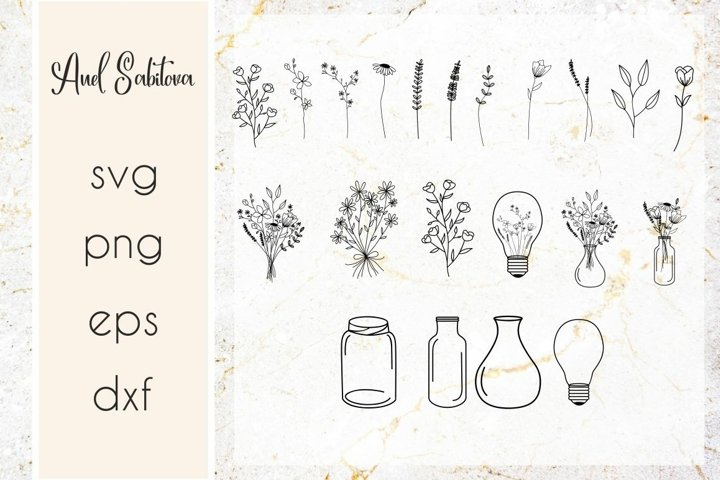 Wildflowers svg, mason jar with flowers, floral designs