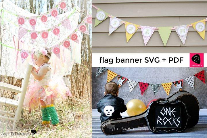 Triangle Flag Banner SVG & PDF Design