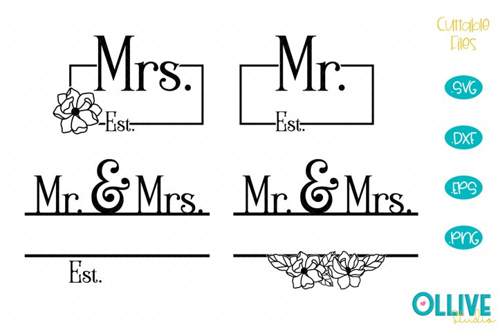 Mr. & Mrs. Split Monogram SVG Bundle