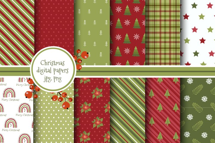 Christmas red and greens digital paper pack