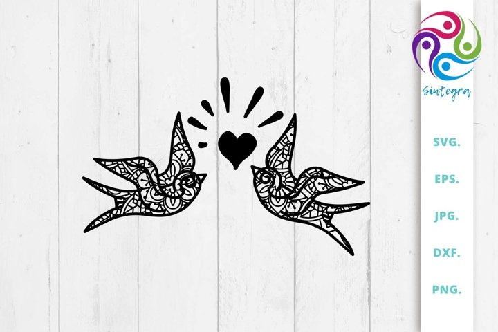 Zen Tangle Valentine Bird Svg File