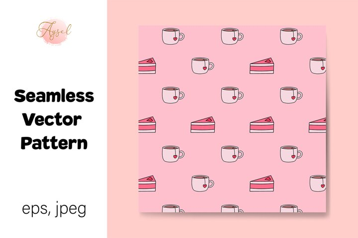 Valentines Day Cakes and Teacups Seamless Repeat Pattern