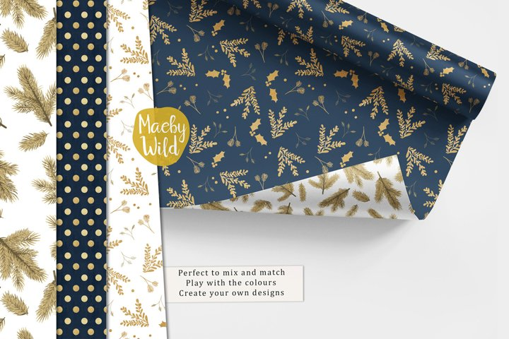 Navy blue and gold glittery Christmas Seamless Pattern