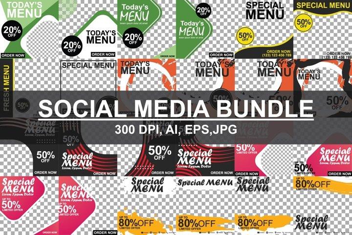 SOCIAL MEDIA BUNDLE- Ilustrator, PSD, JPG.