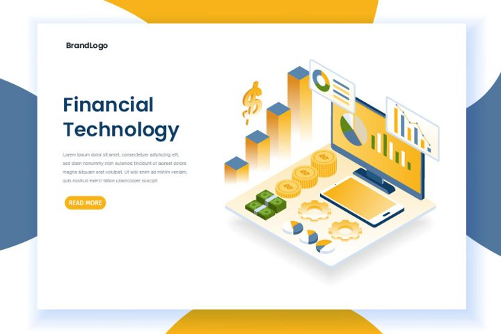 Financial technology landing page concept