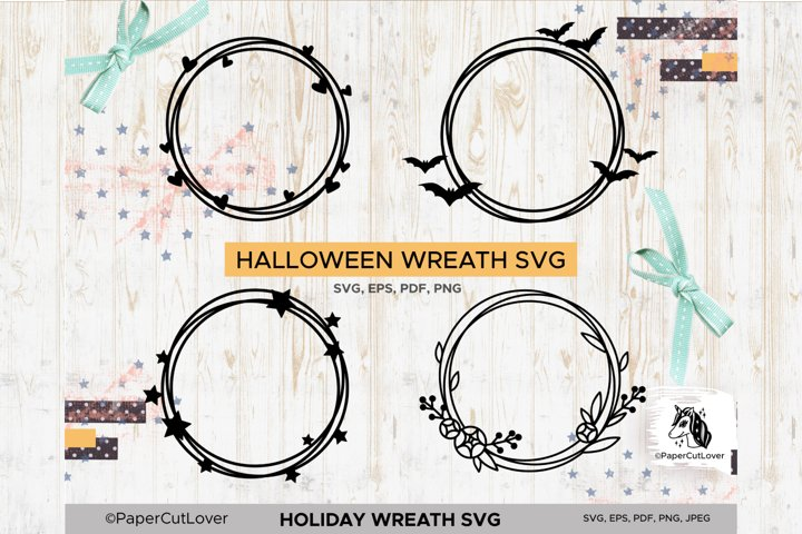 Holiday Wreath SVG Set, Halloween, Hearts, Stars, Flowers