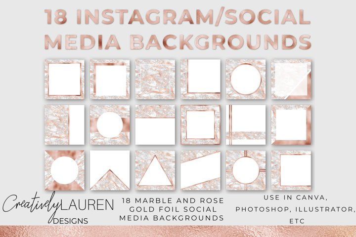 Veined Marble and Rose Gold Foil Instagram Template
