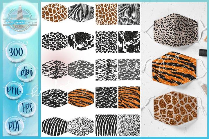 SVG PNG Animal Print Mask Glitter Sublimation Bundle