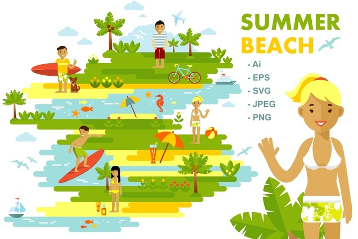 Summer beach landscape background in flat style