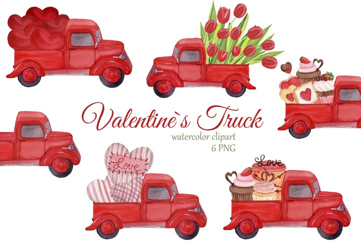 Red trucks with hearts, tulips and sweets. Valentines Day
