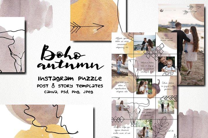 Boho autumn watercolor instagram puzzle template |canva & PS
