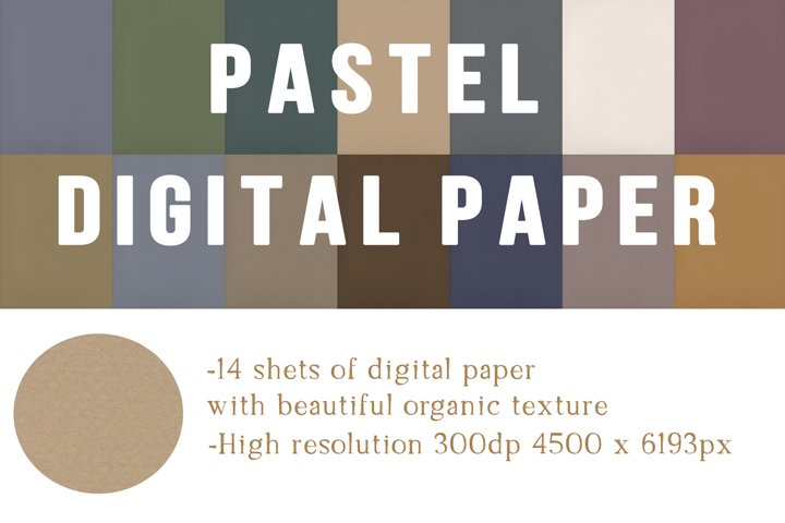 Digital Pastel Paper pack of 14, digital textured paper