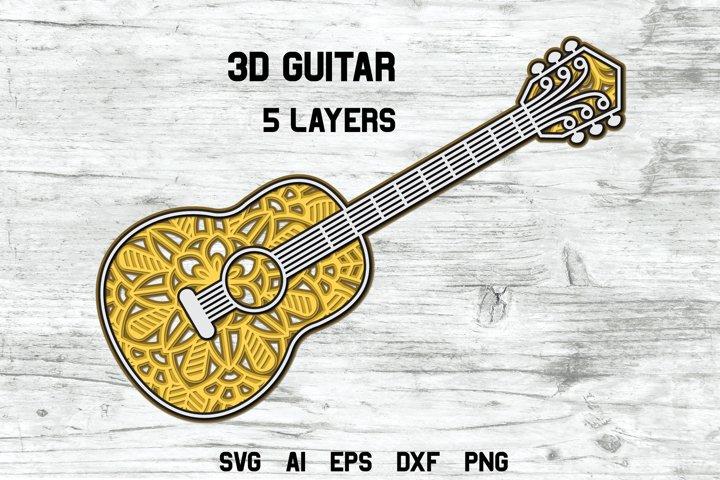 3d Layered Guitar | Multi Layer Music SVG Cut File